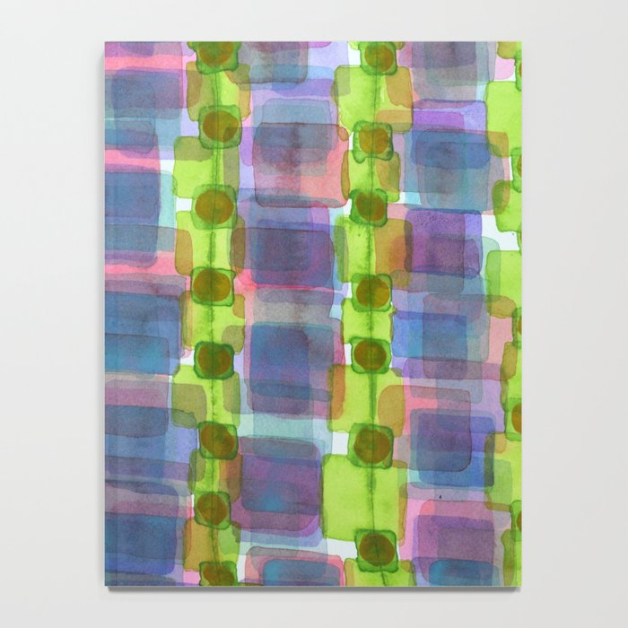 Purple Square Rows with Fluorescent Green Strips Notebook