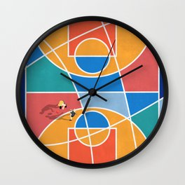 Shooting Hoops Street Basketball From Above  Wall Clock