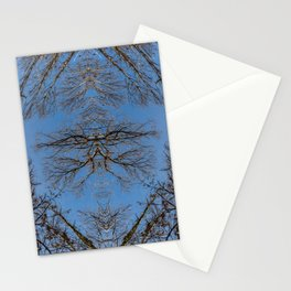 Mirroring high trees Stationery Cards