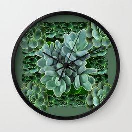 ARTISTIC GRAY-GREEN SUCCULENT ART Wall Clock