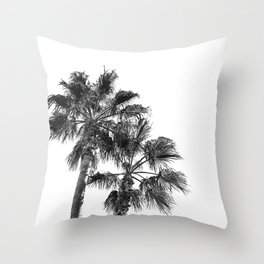 B&W Palm Tree Print | Black and White Summer Sky Beach Surfing Photography Art Throw Pillow