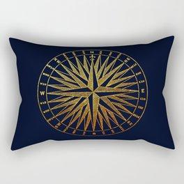 The golden compass- maritime print with gold ornament Rectangular Pillow