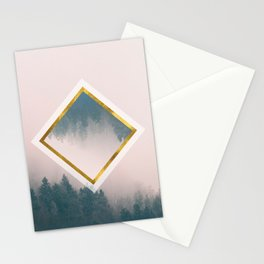 Pink Misty forest - Abstract Stationery Cards