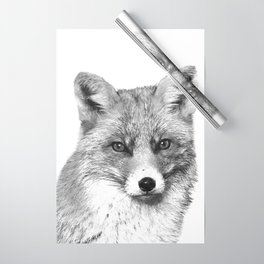 Black and White Fox Wrapping Paper