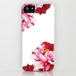 Floral Theme- Bi-color Peony Flower - Watercolor Illustration iPhone Case