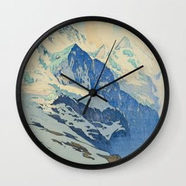 The Jungfrau Vintage Beautiful Japanese Woodblock Print Hiroshi Yoshida Wall Clock