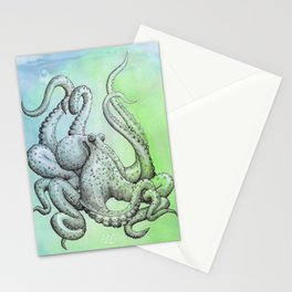Octopus -- Blue & Green Stationery Cards