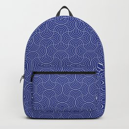 Navy Blue rounded geometric pattern Backpack