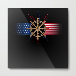 4th of july, 4th of july pontoon captain, captain Metal Print