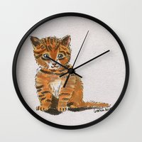 whisky Wall Clocks featuring Whisky, the Kitty by Gersin@Albatrostudio