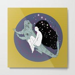 Iguana Fairy Girl Metal Print