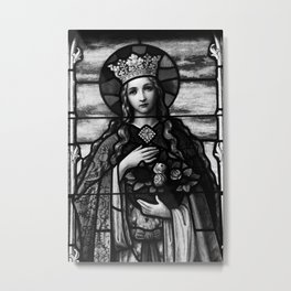 Mary in Black and White Metal Print