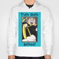 hufflepuff Hoodies featuring Truffle Shuffle Hufflepuff by Portraits on the Periphery