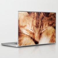 garfield Laptop & iPad Skins featuring Garfield Sleeps by Rachel's Pet Portraits