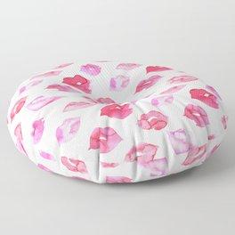 Watercolor pink lips pattern Floor Pillow