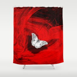 Silver butterfly emerging from the red depths Shower Curtain