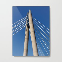 modern suspension bridge - southport engand Metal Print