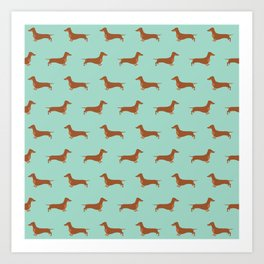 Red Dachshund Chocolate Tan Sausage Dog on Mint Green Background Dog Pattern for Dog Lover Art Print