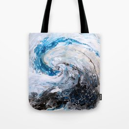 Ocean wave - blue and gold abstract seascape Tote Bag