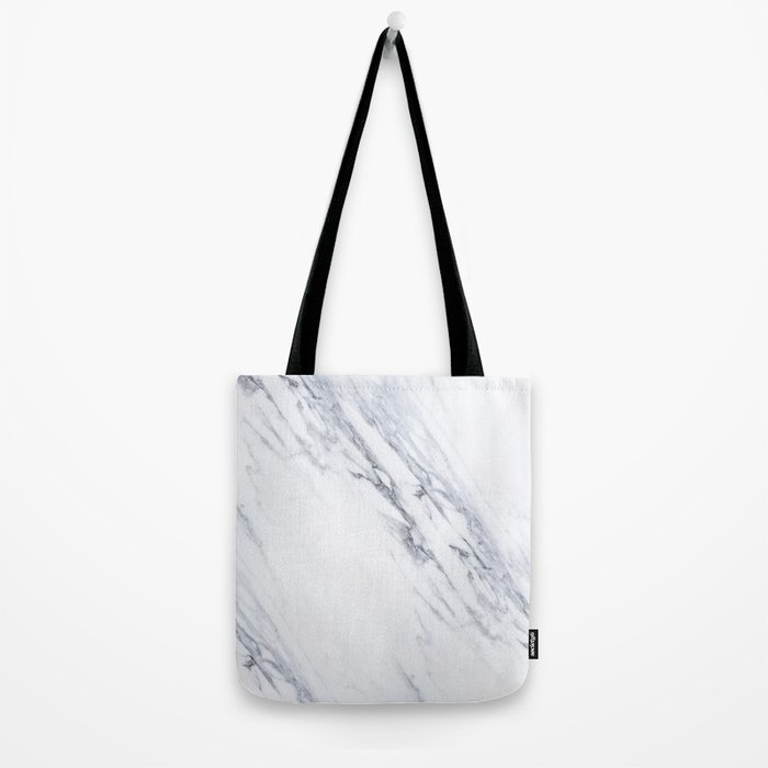 White Marble with Classic Black Veins Tote Bag