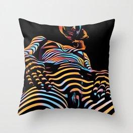 1731s-AK Striped Vulval Portrait Zebra Woman Power Pose by Chris Maher Throw Pillow