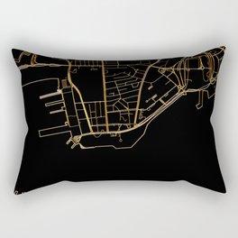 Black and gold Hong Kong map Rectangular Pillow