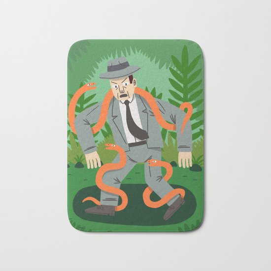 Man with Snakes Bath Mat