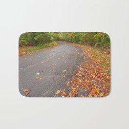Winding Autumn Forest Road Bath Mat