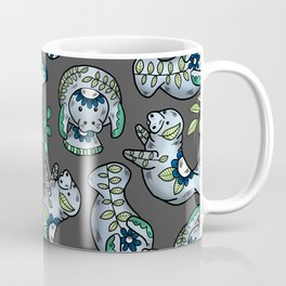 Majestic Folk Art Manatees - Pattern on Gray Coffee Mug