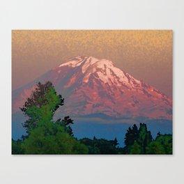 Snow-capped Mount Rainier at Dusk Painterly Photo Illustration Canvas Print