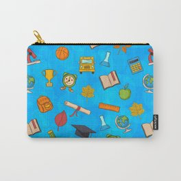 Back to school on blue background Carry-All Pouch