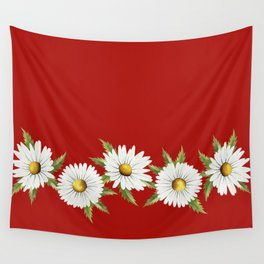 Chamomile (Red) Wall Tapestry