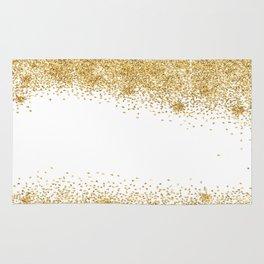 Sparkling golden glitter confetti effect Rug