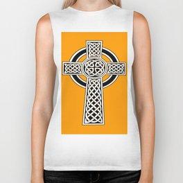 St Patrick's Day Celtic Cross Black and White Biker Tank