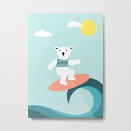 Polar bear surfing. Metal Print