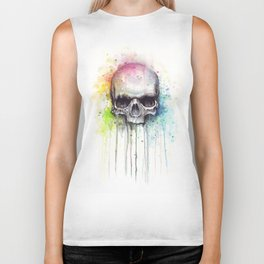 Skull Rainbow Watercolor Biker Tank