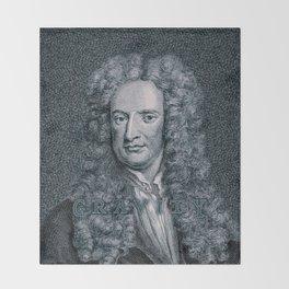 Gravity / Vintage portrait of Sir Isaac Newton Throw Blanket