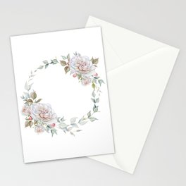 Watercolor White Rose Wreath Stationery Cards