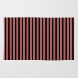 Dusty Cedar and Black Stripes Rug