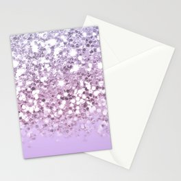 Sparkly Unicorn Lilac Glitter Ombre Stationery Cards