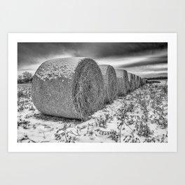 B&W hay bails Art Print