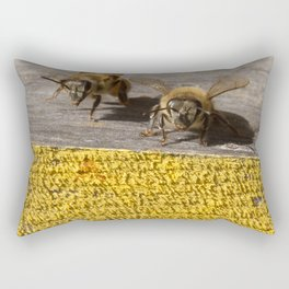 Two Honey Bees at the hive Rectangular Pillow