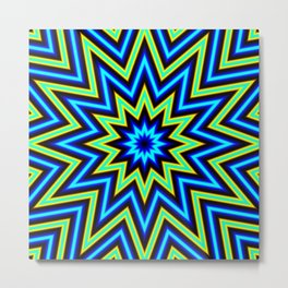 Yellow Green and Blue Psychedelic Star Pattern Metal Print
