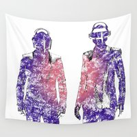 daft punk Wall Tapestries featuring Daft Punk Text Portrait by Mike Clements