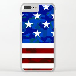 US Flag (Camouflage) Clear iPhone Case