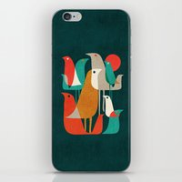 flower iPhone & iPod Skins featuring Flock of Birds by Picomodi