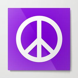 Peace (White & Violet) Metal Print