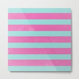 Pink & Mint Stripes Digital Design Metal Print