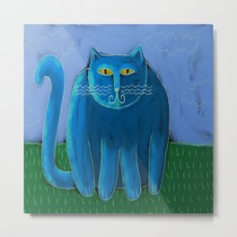 Fat Blue Cat Abstract Digital Painting Metal Print