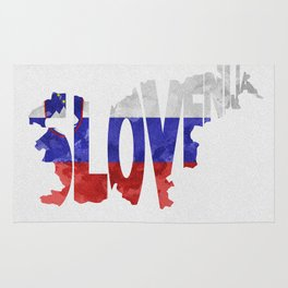 Slovenija / Slovenia Typographic Flag / Map Art Rug
